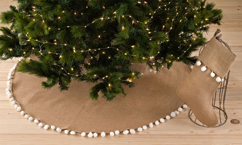 Pompom Trim Jute Holiday Christmas Tree Skirt and Stocking