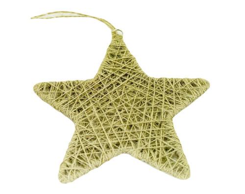 Burlap Christmas Tree Twine Jute Star Ornaments, Natural Color, 2-piece Set