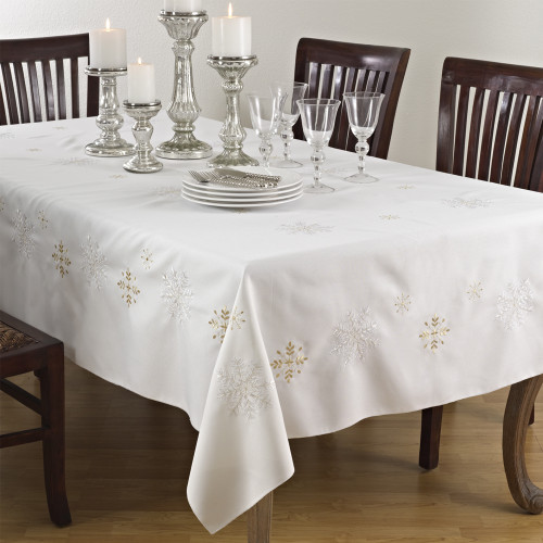 Embroidered Snowflake Tablecloth