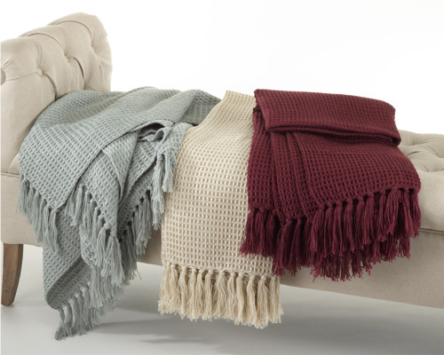 Chic Waffle Weave Design Throw Blanket