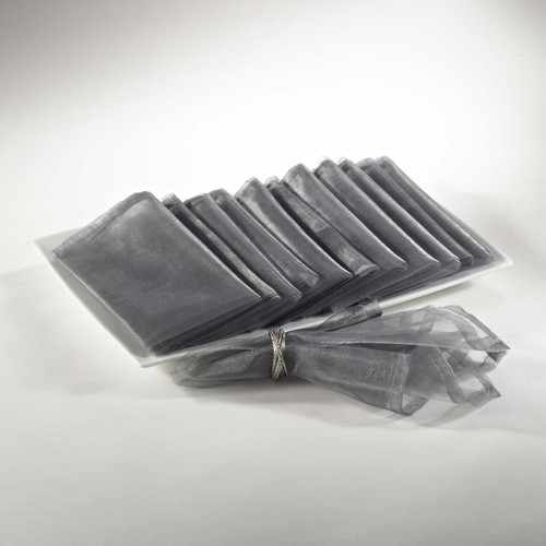 Sheer Decorative Organza Dinner Napkins, Set of 12, Silver