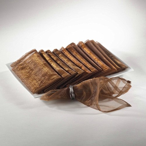 Sheer Decorative Organza Dinner Napkins, Set of 12, Coffee