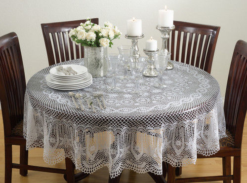 Classic Crochet Vinyl Tablecloth, 2 Colors, 72-inch Round (Beige)