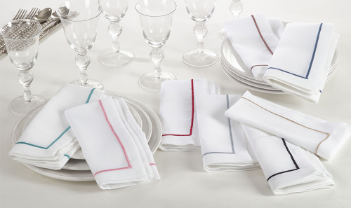 Fennco Styles Embroidered Line Design Napkins, Set of 4, Many Colors