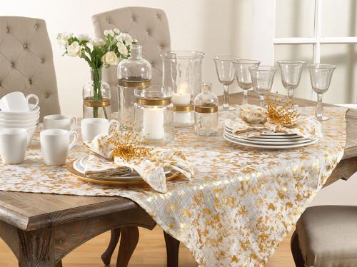 Fennco Styles Gold Bottega Foil Print Table Linen Tablecloth Napkins