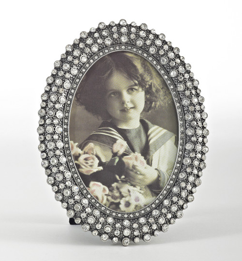 "Fennco Styles Bejeweled Silver Photo Frame, Photo Size 3.5""x5"""