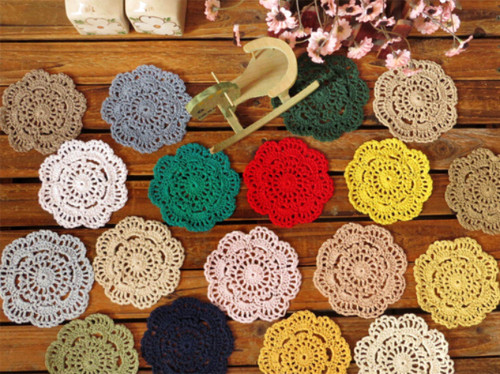 Fennco Styles Handmade Floral Cotton Coaster Doily, 4-piece Set, Many Colors