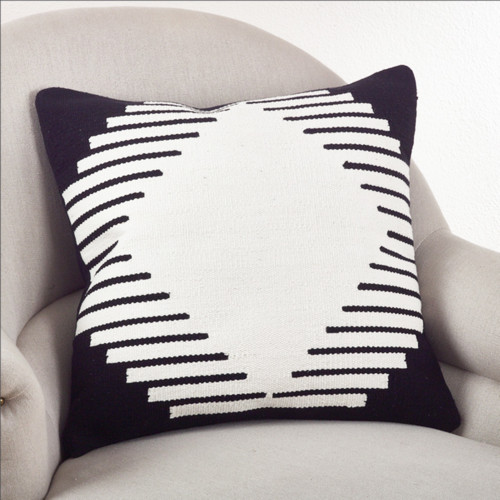 Fennco Styles 20-inch Kilim Design Down Filled Throw Pillow, Black and White