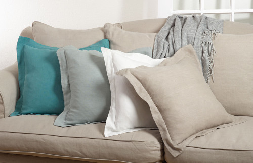 Fennco Styles 20-inch Flanged Linen Down Filled Throw Pillow, 4 Colors