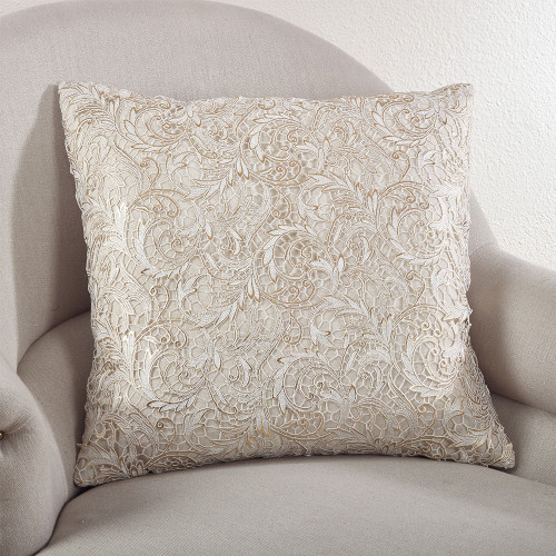Fennco Styles Lace Design Down Filled Throw Pillow, Natural, 2 Sizes