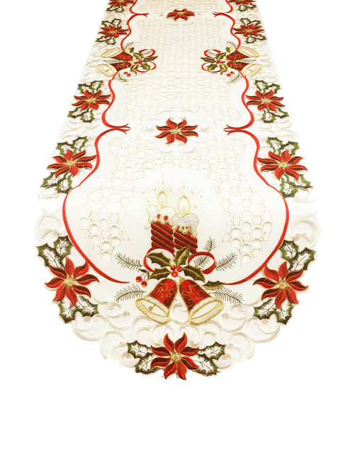 Fennco Styles Holiday Embroidered Christmas Design Cutwork Table Linens Tablecloth Runner