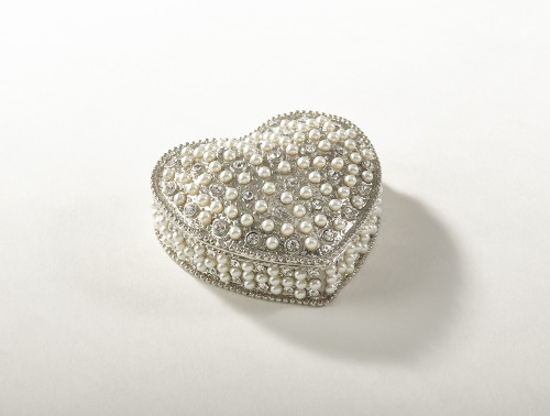 Fennco Styles Crystal Pearl Collectible Decorative Jeweled Heart Box