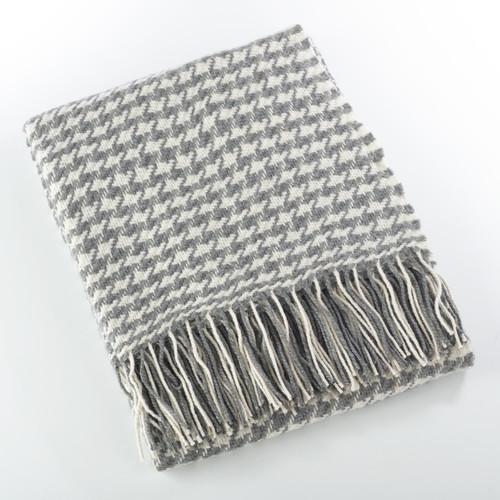 Fennco Styles Sevan Collection Houndstooth Design Wool Blend Throw Blanket