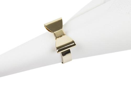 Fennco Styles Classic Design Metal Napkin Ring - Set of 4 (Bowtie)
