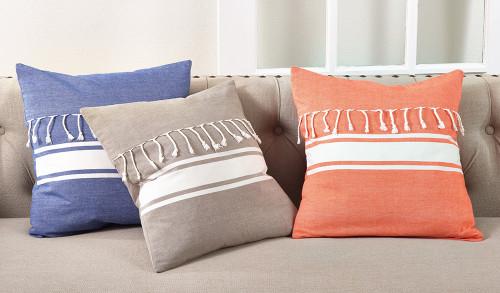 Fennco Styles Stripe Print Tassel Fringe Down Filled 20-inch Cotton Throw Pillow