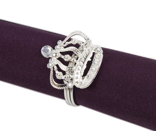 Fennco Styles Jeweled Design Metal Napkin Ring - Set of 4 (Crown)
