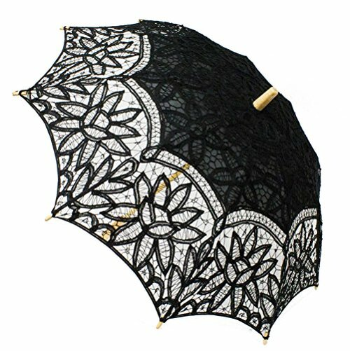 Fennco Styles Handmade Victorian Battenberg Lace Wood Wedding Parasol Umbrella