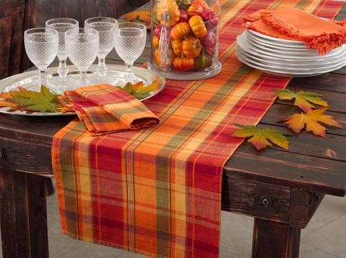Fennco Styles Harvest Plaid Design Cotton Terracotta Table Runner