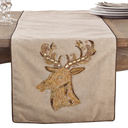 Fennco Styles Beaded & Embr'd Reindeer Christmas Cotton Collection