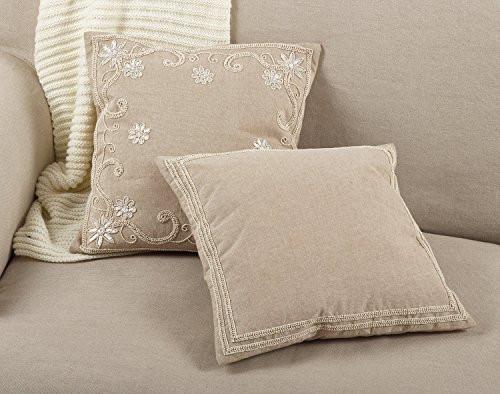 "Fennco Styles Beaded Border Design Cotton Down Filled Throw Pillow 18"" Square"