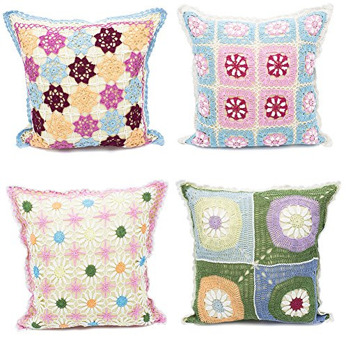 "Fennco Styles Handmade Floral Design Crochet Lace Decorative Throw Pillow Cover 16"" Square - 100% Cotton"