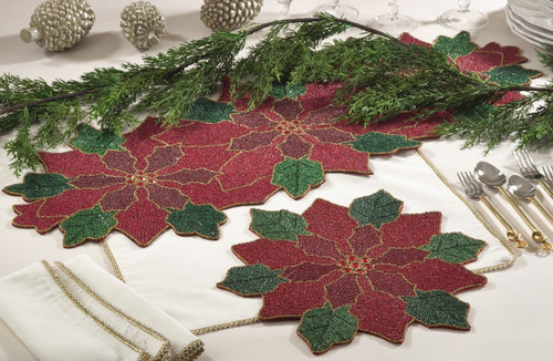 Fennco Styles Hand Beaded Pointsettia Table Runner & Placemat