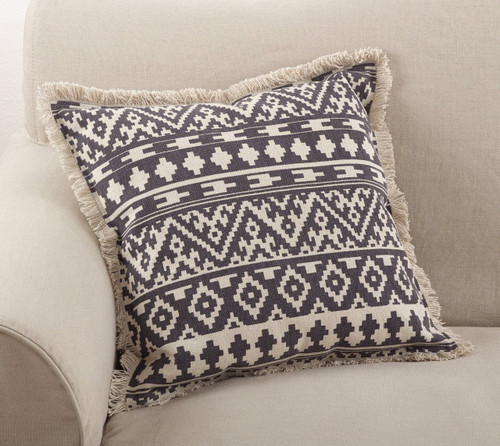 "Fennco Styles Peters Aztec Tribal Fringe Border Cotton Throw Pillow 20"" Square"
