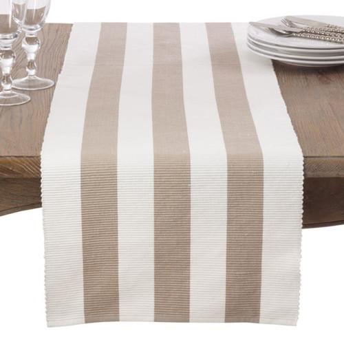 Classic Stripe Design Ribbed Cotton Table Runner & Napkin