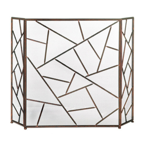 Fennco Styles Modern Geometric Fireplace Screen