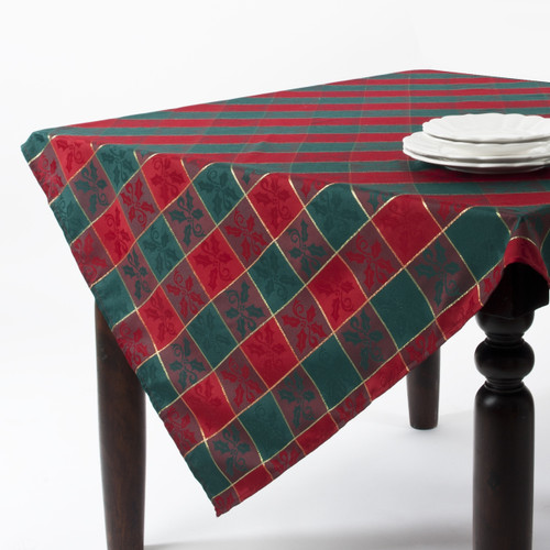 Fennco Styles Royal de Noel Classic Plaid Holiday Square Tablecloth - 5 Sizes - Red and Green