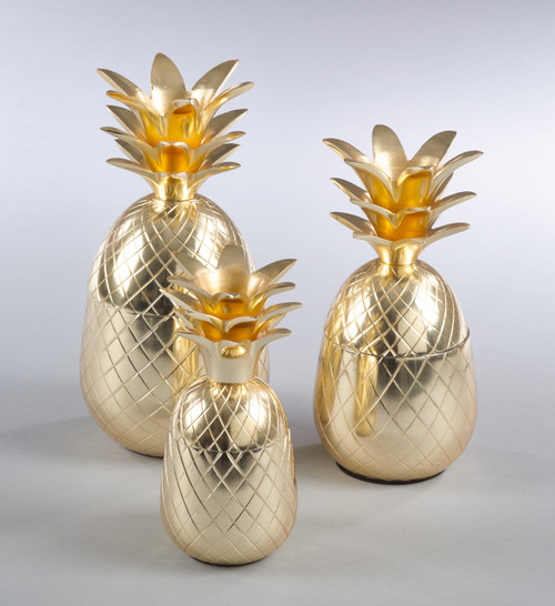 Fennco Styles Decorative Gold Resin Pineapple Jar (3 sizes)