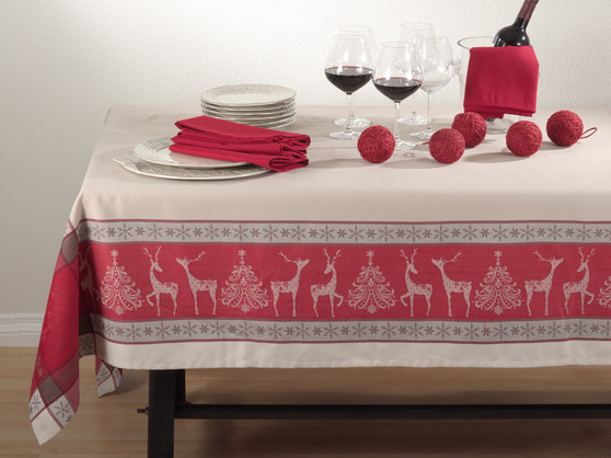 Northern Reindeer Holiday Design Jacquard Tablecloth, Red/taupe, 72-inch Square, One Piece
