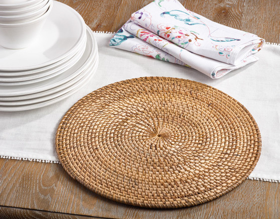Fennco Styles Round Hand Woven Water Hyacinth Rattan Placemat
