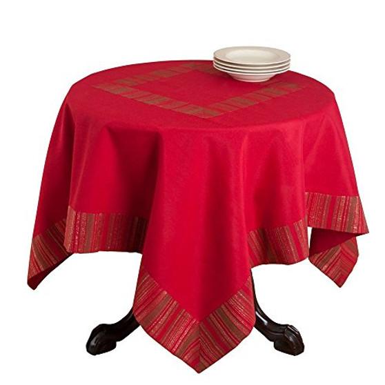 Elegant Woven Striped Tablecloth