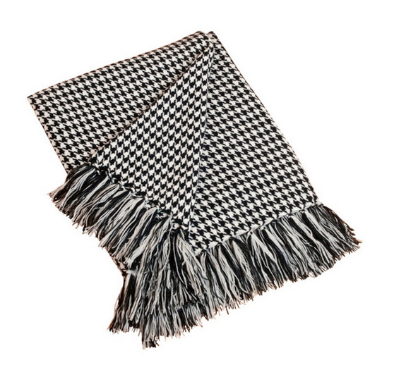 Houndstooth Fringe Throw Blanket, Black