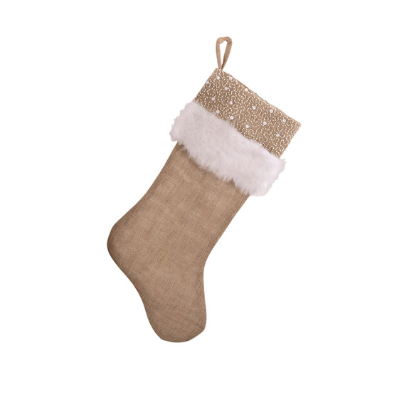 Holiday Décor Jute Design Natural Christmas Stocking, One Piece (white faux fur and beads)