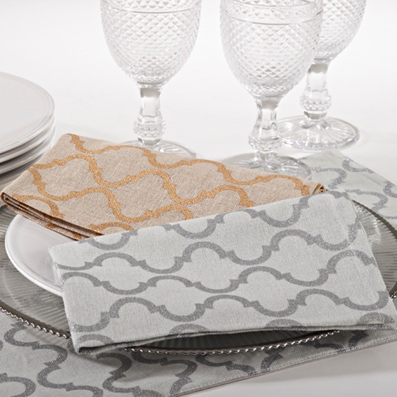 Printed Moroccan Design Napkins, Set of 4