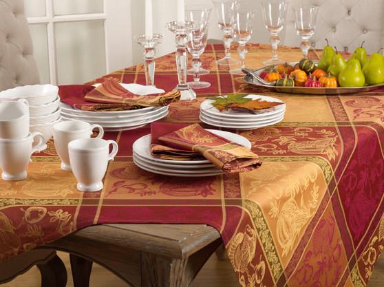 Fennco Styles Jacquard Warm Thanksgiving Table Linens Tablecloth/ Napkins