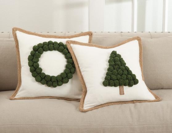 Fennco Styles Ricamato Collection Xmas Tree Throw Pillow- 2 Styles