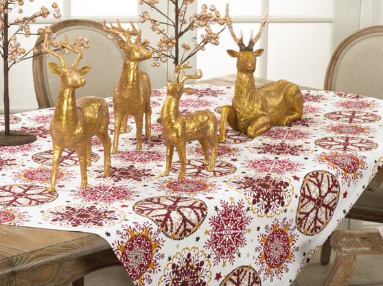 "Fennco Styles Holiday Decor Red Snowflake Print Table Topper - 60"" Square"