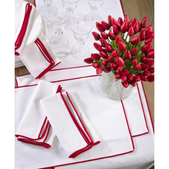 Fennco Styles Pompom Trim Design Cotton Table Runner & Napkin