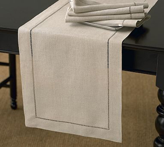 Fennco Styles Handmade Classic Hemstitch Natural Table Runner