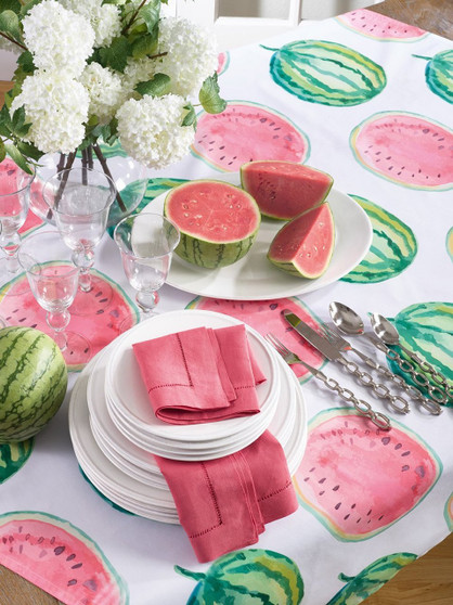 """Fennco Styles Colorful Watermelon Printed Summer Decor Tablecloth Table Topper 55"""" Square"""