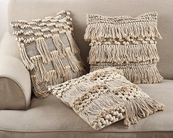 Fennco Styles Moroccan Wedding Blanket Style Design Fringe Cotton Down Filled Throw Pillow