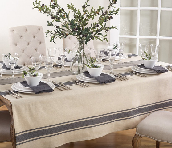 """Fennco Styles Aulaire Banded Design Tablecloth - 72""""x72"""""""