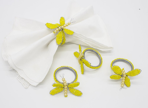 Fennco Styles Glass Beads Hand Beaded Butterfly Napkin Ring - Set of 4
