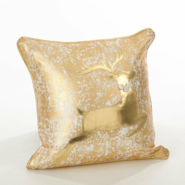 Fennco Styles Donnelou Collection Metallic Design Down Filled Cotton Throw Pillow