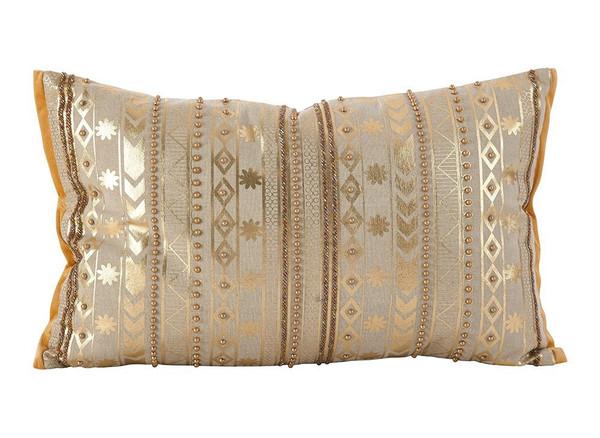 Fennco Styles Elegant Beaded Aztec Design Accent Decorative Cotton