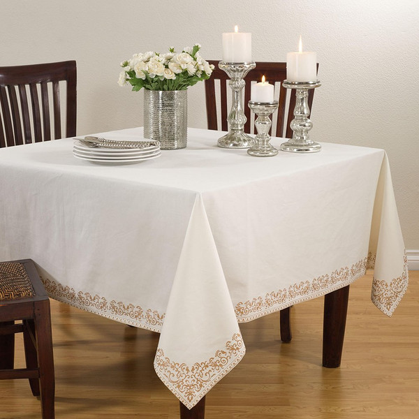 Fennco Styles Heidi Printed Scroll Tablecloth, Square