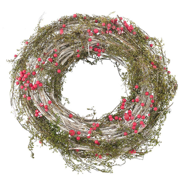"""Fennco Styles Holiday Red Berry Artificial Faux Twig Branch Christmas Wreath-20"""" Round"""
